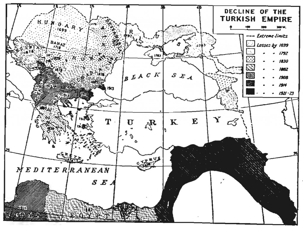Decline of the Turkish Empire map